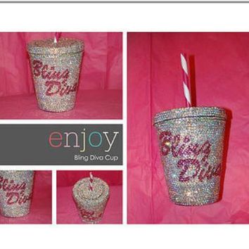 "Custom ""Bling Diva"""" AB Rhinestone Cold Cup"