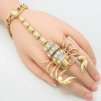 Studded Scorpion Hand Chain Bracelet
