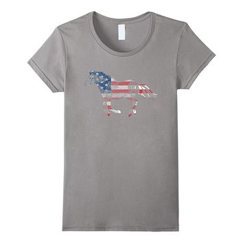 Patriotic American Flag Horse T-shirt For 4Th Of July