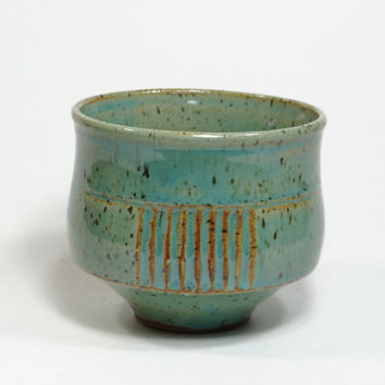 Green stoneware tea bowl, chawan, yunomi, teacup, tea cup, small bowl, decorative bowl, father's day gift