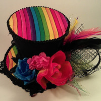 Rainbow and Black Mini Top Hat Burlesque Rave Candi GLTB Party Fascinator Lolita Kawaii