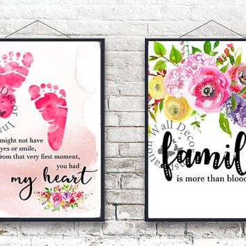 My heart | Family | Adoption Adopt Baby girl | Baby feet | Art Print | Inspiration Poster | Home Decor Print | Printable Quote | Typography