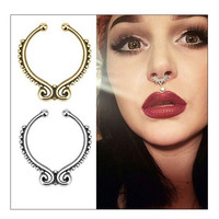 Surgical steel Silver Gold Titanium plated ring false septal fake nose ring piercing body jewelry ring rings Bijoux for
