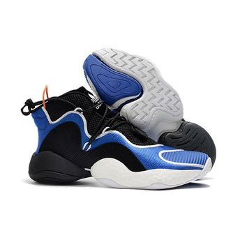 Adidas Crazy BYW Boost Black White Blue Basketball Shoes - Best Deal Online