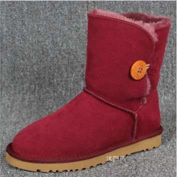 """UGG"" Women Fashion Wool Snow Boots Calfskin Shoes A Button shoes Wine red"