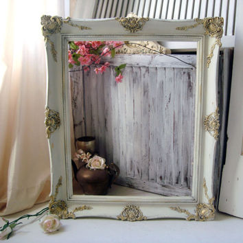 Antique White Vintage Frame, Shabby Chic Ornate Large Open Frame, White and Gold Painted Frame