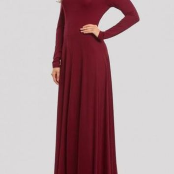 Draped Bow Backless Round Neck Long Sleeve Prom Evening Party Maxi Dress