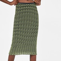 MIDI SKIRT WITH SCALLOPED TRIMS DETAILS