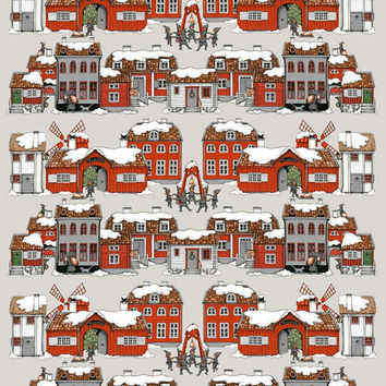 Christmas tablecloth Beige red old houses town Elf Scandinavian Xmas ,napkins , runner , towel , pillow , curtains  available, great GIFT