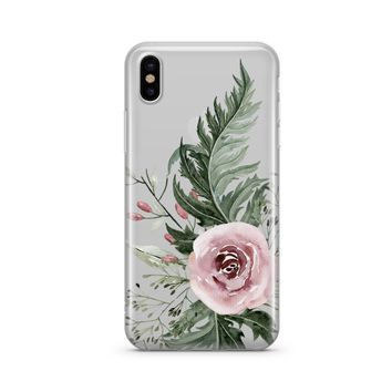 Dusty Pink Rose - Clear TPU Case Cover