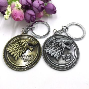 MDIG57D Movie TV Jewelry House Stark Game Of Thrones Winter Is Coming Wolf Head Keychain Top Grade Gothic Cool Man Key Chains Ring Gifts