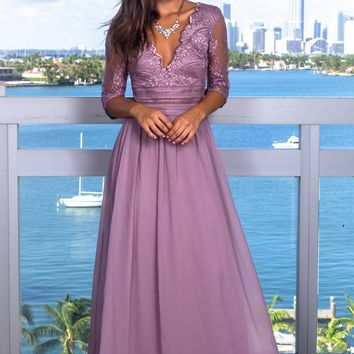 Mauve V-Neck Maxi Dress with Mesh Embroidered Sleeves