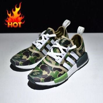 LMFUX5 Bape x Adidas NMD Green Camo Army Bathing Ape Nomad Runner Boost Sport Running Shoes - BA7326