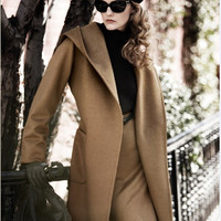 Hooded Belt Casual Suede Mid-length Plus Size Coat