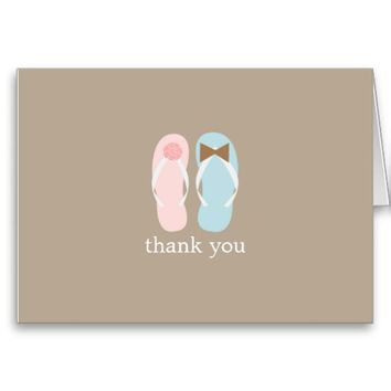 Wedding Flip Flops Folded Thank You Notes Greeting Card from Zazzle.com