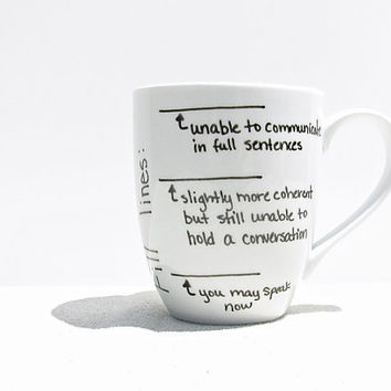 "Coffee Mug - ""Fill Line"" Mug - Coffee Cup - Tea Cup - Black and White Mug - Funny Mug"