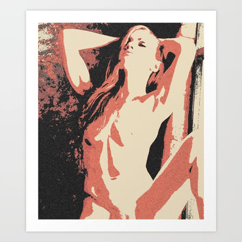 I just want to set the world on fire - sexy redhead girl sketch Art Print by Peter Reiss