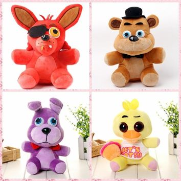 4pcs/set 25cm  Plush  At  4  Foxy Freddy Fazbear Bear Bonnie Rabbit Chick Duck Stuffed Animal Toy