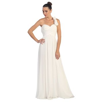 One Shoulder Ruched Off White Long A Line Semi Formal Gown