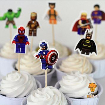 Batman Dark Knight gift Christmas 96pcs LEGO The Avengers superman batman Iron Man cake toppers cupcake picks cases kids birthday party decoration baby shower AT_71_6