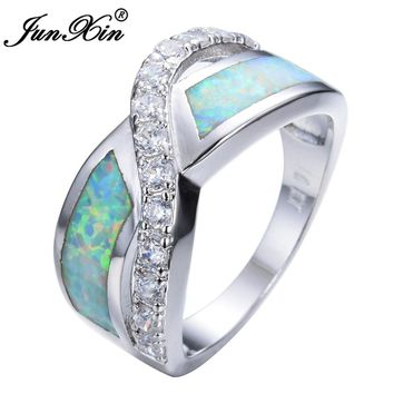 JUNXIN Women White Fire Opal Ring High Quality 925 Sterling Silver Filled Fashion Jewelry Vintage Wedding Rings For Women