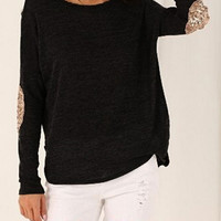 Sequined Elbow Patch Long Sleeve T-Shirt