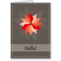 Hello greeting card with a flower greeting cards