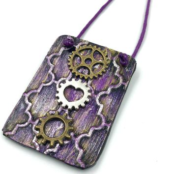 Mixed Media Purple Bicycle Gear Necklace / Bicycle Jewelry, Steampunk Jewelry, Bicycle Necklace, Mountain Bike Jewelry, Bicycle Gift, Gears