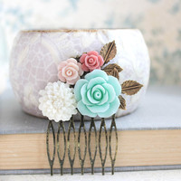 Flower Hair Comb Mint Rose Bridal Hair Comb Floral Collage Comb Leaf Branch Dusty Pink Rose Country Rustic Wedding Hair Accessories