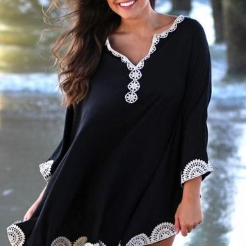 Black Embroidered Trims Beach Cover up