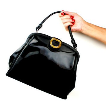 Vintage Back Patent Leather Handbag With Handle / 1950s Purse