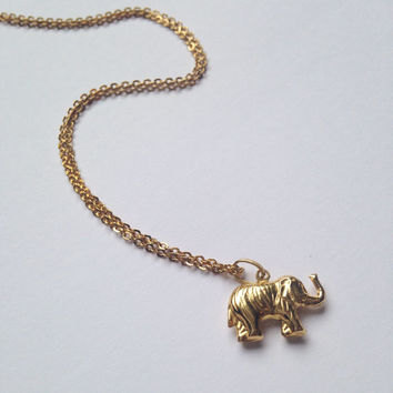 Tiny vintage 9ct / 9k gold elephant mammoth pendant charm on 17 inch gold chain - miniature, jewellery, stackable, stacking chain, animal