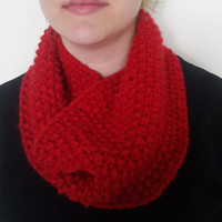 Red Chunky Infinity Scarf