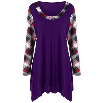 Wipalo Tops Tees Plus Size 5XL Plaid Trim Tunic T-Shirt Autumn Women Scoop Neck Long Sleeve T Shirts Female Casual Long Tops