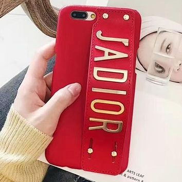 DIOR mobile phone case wristband iphone6s leather case tide brand atmosphere female soft shell Red