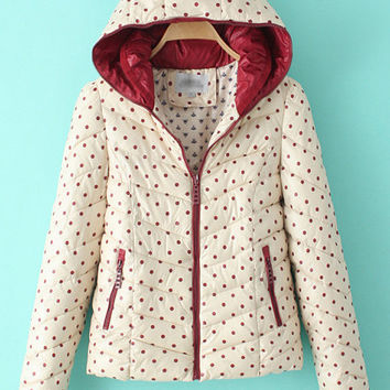 Polka Dots Double Collar Hooded Padded Coat