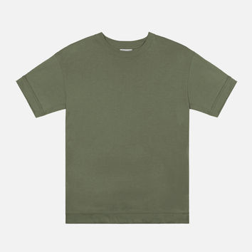 Oversized Cropped Tee / Olive