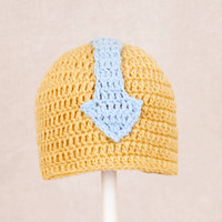 Aang Hat from Avatar the Last Airbender, Tan and Blue Crochet Beanie, send size choice baby - adult