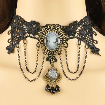 Tassel Lace Necklace Pendant With Came