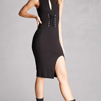 Lace-Up Ribbed Tank Dress