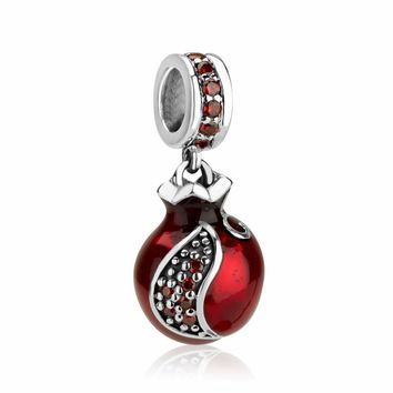 Pomegranate Hang Bead Charm with Garnet Stones