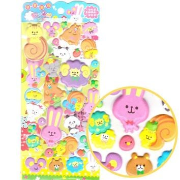 Sheep Bear Bunny and Squirrels Animal Shaped Puffy Stickers for Scrapbooking