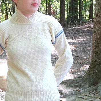 Vintage Ski Sweater by Obermeyer Women's Nordic Snowflake Pattern in Cream and Blue Wool Ladies' Size Small