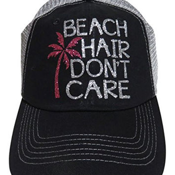Silver Glitter Beach Hair Don t Care Black Grey Trucker Cap Hat 77d32c3643d
