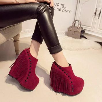 Tassels Rivets Round Toe Platform High Wedge Short Boots