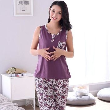 DCCKU62 Plus Size M-4XL 100% Cotton Women Pajamas Set Small Floral Sleepwear Vest Casual Tracksuit 2 piece Sexy Summer Home Lounge Gift