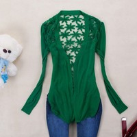Back hook flower Hollow out knitting cardigan
