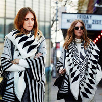 Stock in US! Retro geometric printing blanket type thickening warm women scarf shawl