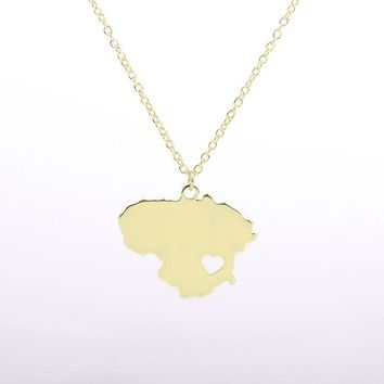 New Hot Sale Lithuania Map Necklace Earth Day Gift For Best Friends Heart  Pendants Personalized Fashion Outdoor Necklace