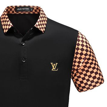 LV Shirt Louis Vuitton Men Top Shirt Contrast Tartan Sleeve Neck Button Tee Shirt B-A00FS-GJ Black